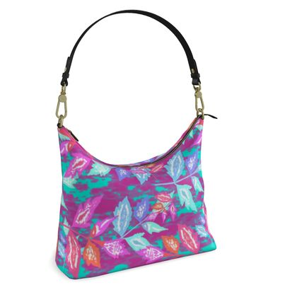 Square Hobo Bag  Diamond Leaves  Harlequin [mauve mix]