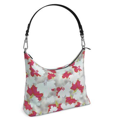 Square Hobo Bag  Oriental Leaves  Snowflake
