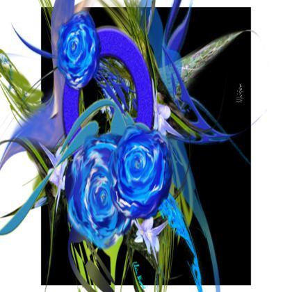 Small Trays - Små Brickor - Blue Flower Black