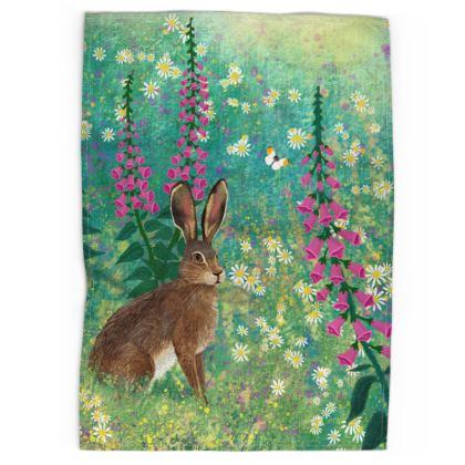 Tea towel with 'Sitting in Foxglove Meadow' design by Jo Grundy
