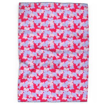 Tea Towels  Oriental Leaves  Leaves on Cerise