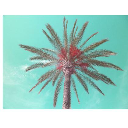 Aqua Blue Tropical Palm Tree Print Folding Stool Chair