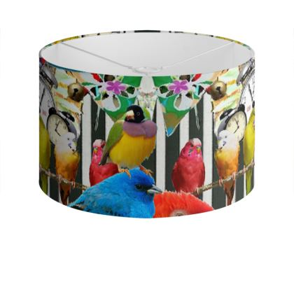 Birds and Bunting Drum Lamp Shade