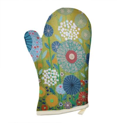 Oven glove with Indian Summer design by Jo Grundy