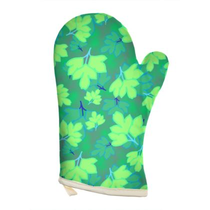 Oven Glove [Right hand shown]  Oriental Leaves  Leaves on Green