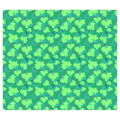 Roller Blinds [120cm W x 105cm D]   Oriental Leaves  Leaves on Green