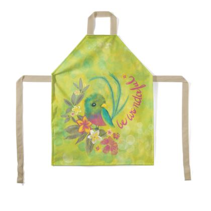 "Tropical bird printed Apron for kids ""Be Wonderful"""