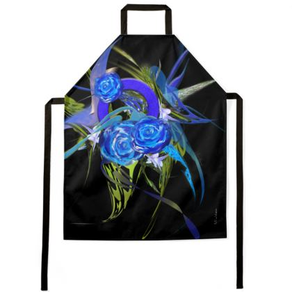 Apron - Förkläde - Blue Flower Black