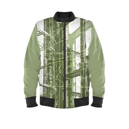 Green Bomber Jacket with Gasholders Print