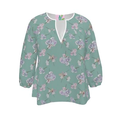 Womens Blouse  My Sweet Pea  Misty Teal