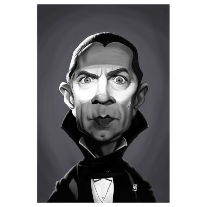 Béla Lugosi Celebrity Caricature Art Print