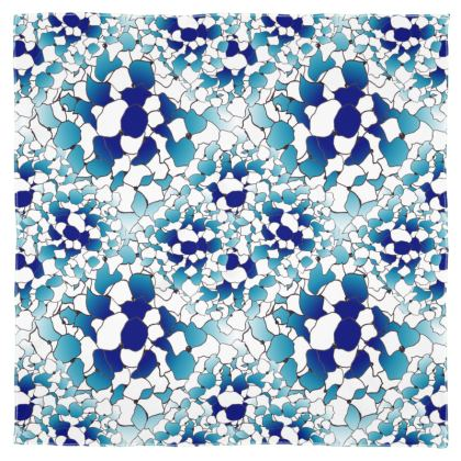 Hydrangea blue printed scarf
