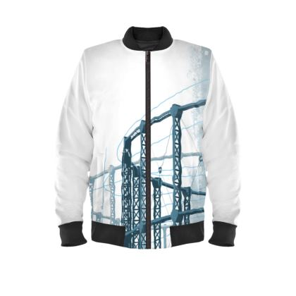 White Bomber Jacket with Gasholders Print