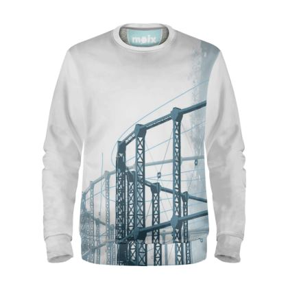 White Sweatshirt with Gasholder Print in Blue