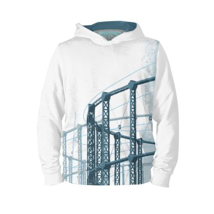 White Hoodie with Blue Gasholder Print