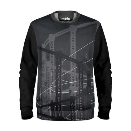 Black Sweatshirt with Gasholder Print in Grey