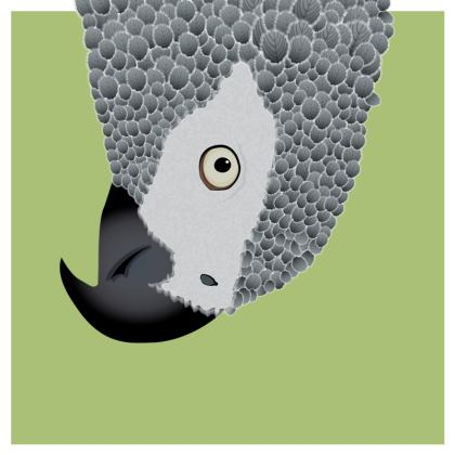 African Grey Parrot [SPRING GREEN] Coasters