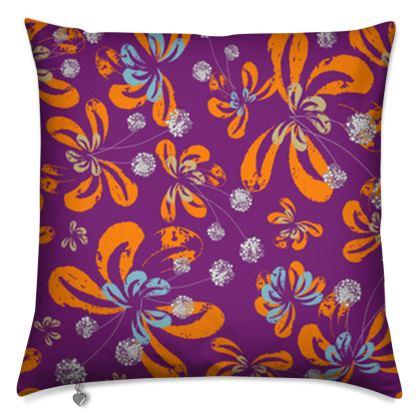 Luxury Cushion: Blossoms Design on Purple
