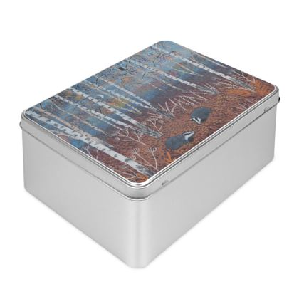 Biscuit Tin with The Badgers of Autumn Wood Design by Jo Grundy