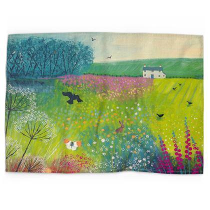 Tea Towel with Midsummer Meadow design by Jo Grundy