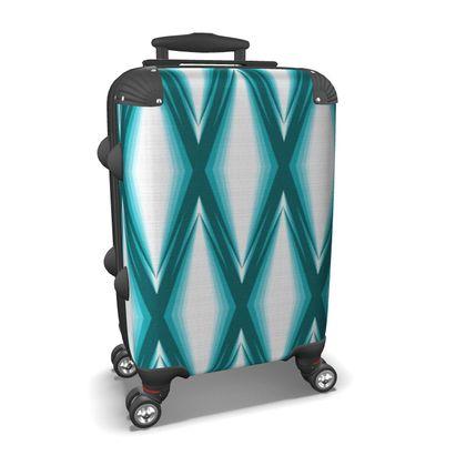 Suitcase Blue Diamonds Pattern