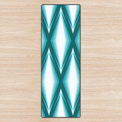 Yoga Mat Blue Diamonds Pattern