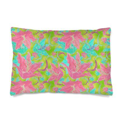 Silk Pillow Case  Lily Garden  Dragonfly