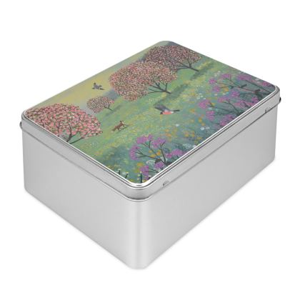 Biscuit Tin with Fox in Blossom Meadow desigh by Jo Grundy