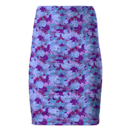 Pencil Skirt  Field Poppies  Midnight
