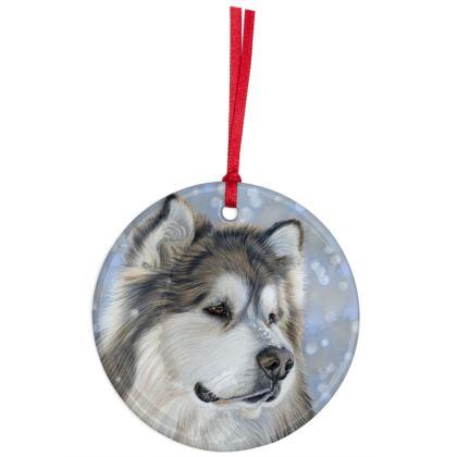 Alaskan Malamute Dog Christmas Ornaments