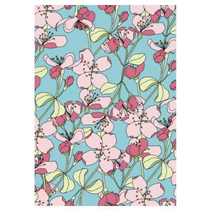 Ladies Tunic Dress Spring Flowers on Blue