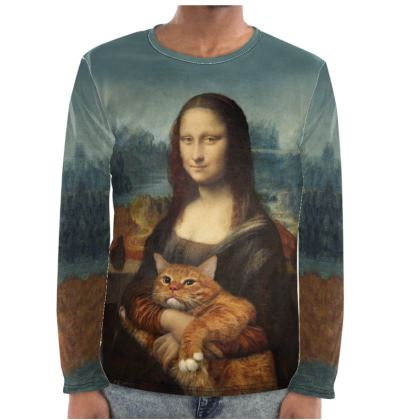 "Men ""Mona Lisa with her cat"" Long Sleeve Shirt"