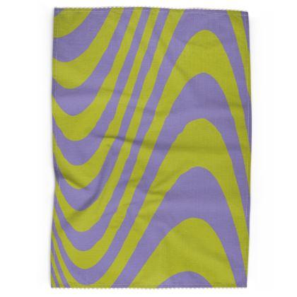 Lilac & Lime Wave Tea Towel