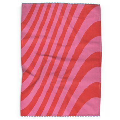 Red & Pink Wave Tea Towel