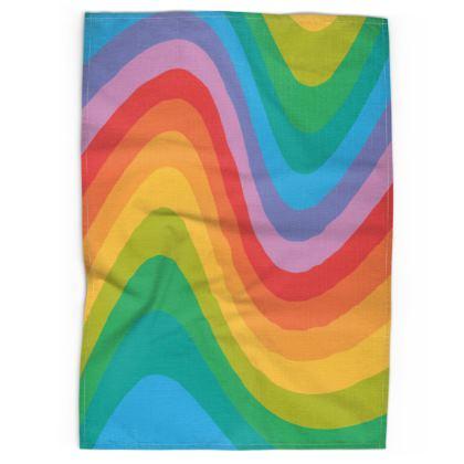 Rainbow Wave Tea Towel