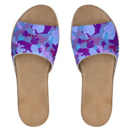 Womens Leather Sliders [blue]  Field Poppies  Midnight