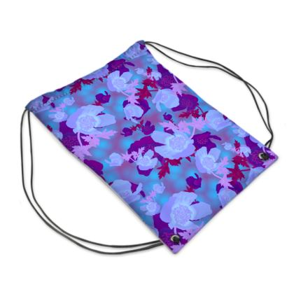 Drawstring PE Bag [blue]  Field Poppies  Midnight