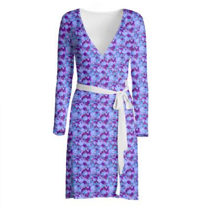 Wrap Dress [blue]  Field Poppies  Midnight