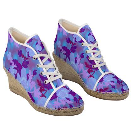 Ladies Wedge Espadrilles [blue]  Field Poppies  Midnight