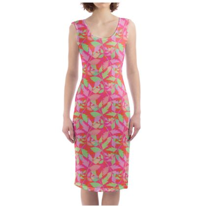 Bodycon Dress [pink, green]  Cathedral Leaves  Trifle