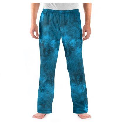 Mens Pyjama Bottoms Watercolor Dark Blue