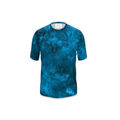 Mens Cut And Sew T-Shirt Dark-Blue
