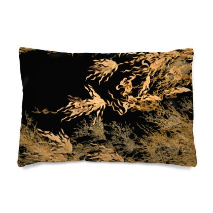 Flossie Noir Gold Flowing Pillow Case