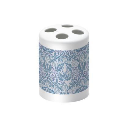 Toothbrush Holder - William Morris' Golden Bough Blue Remix