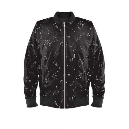 Zodiac Constellations Print Mens Bomber Jacket