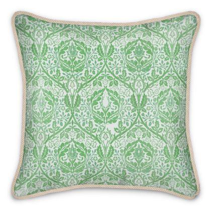 Silk Cushions - William Morris' Golden Bough Green Remix