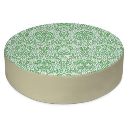 Round Floor Cushions - William Morris' Golden Bough Green Remix