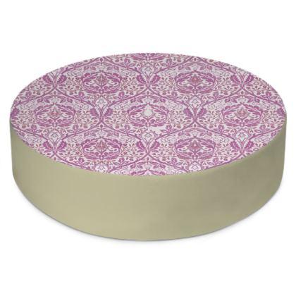 Round Floor Cushions - William Morris' Golden Bough Pink Remix