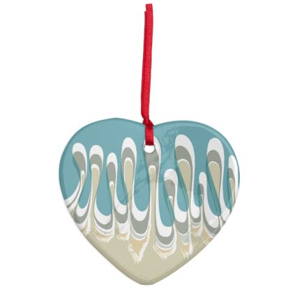 Ceramic Heart Decoration: Waves Design