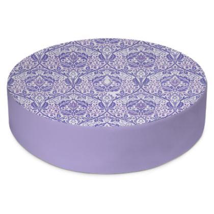 Round Floor Cushions - William Morris' Golden Bough Purple Remix
